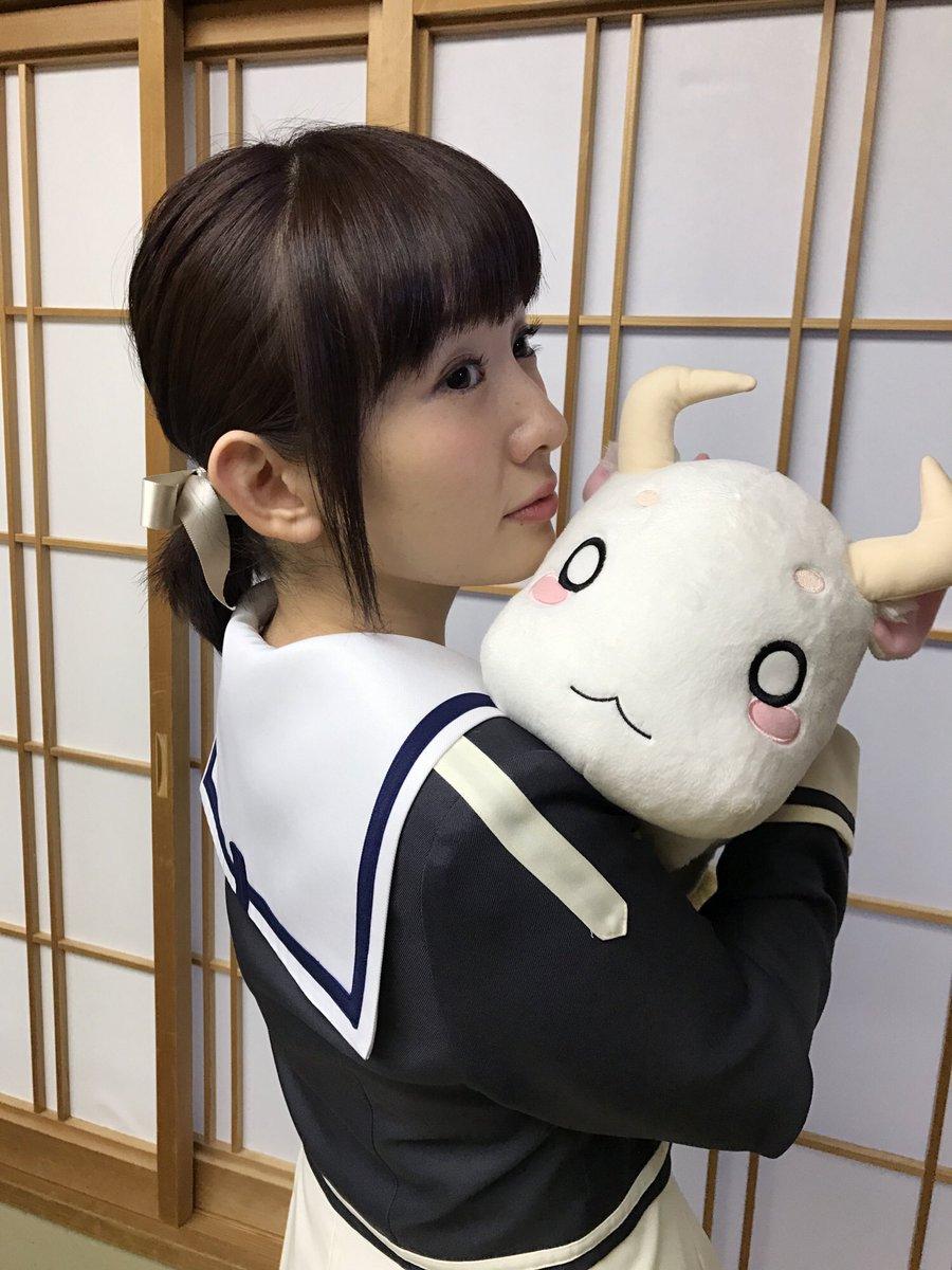 今日の照井春佳さんは友奈を意識してピンクのリボンをつけてくれました!そして、牛鬼も一緒でした!! #…