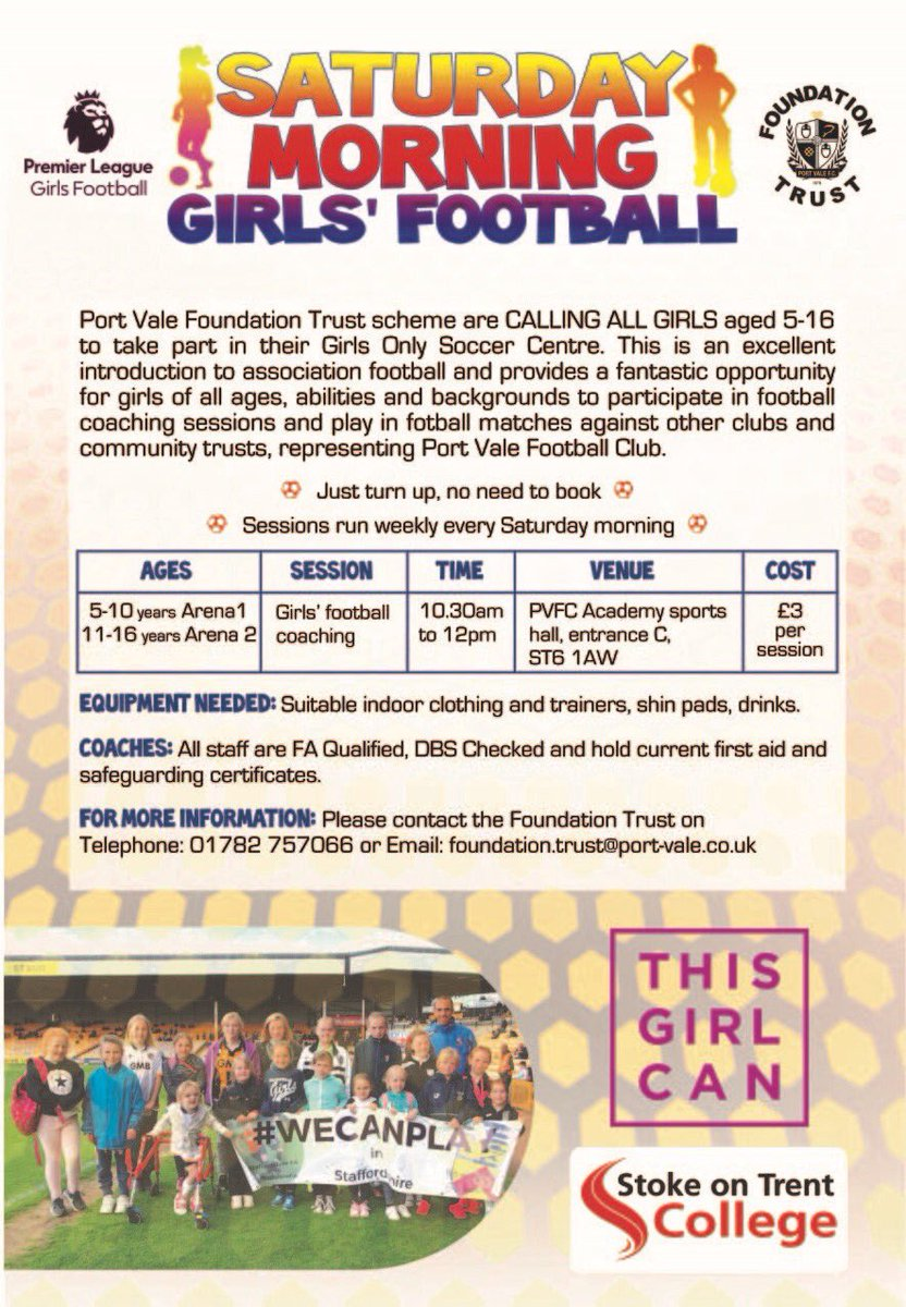 Port Vale Foundation On Twitter Calling All Girls Aged 5 16 Want