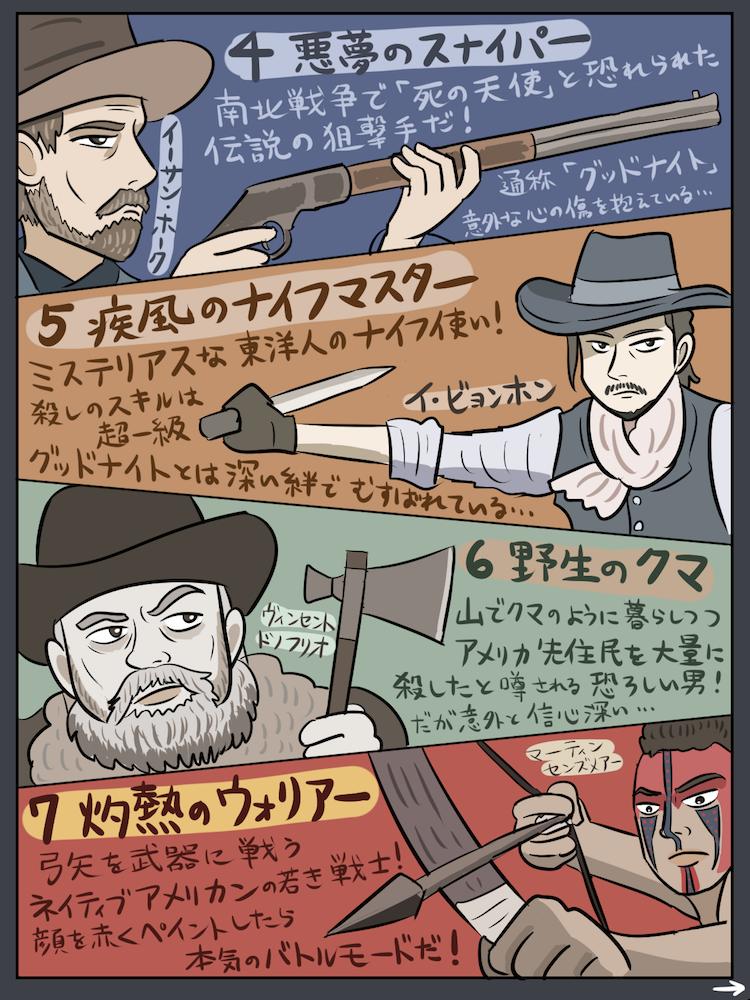 スゴイ7人組の西部劇バトル映画『マグニフィセント・セブン』が面白かったので紹介マンガを描きました。『…