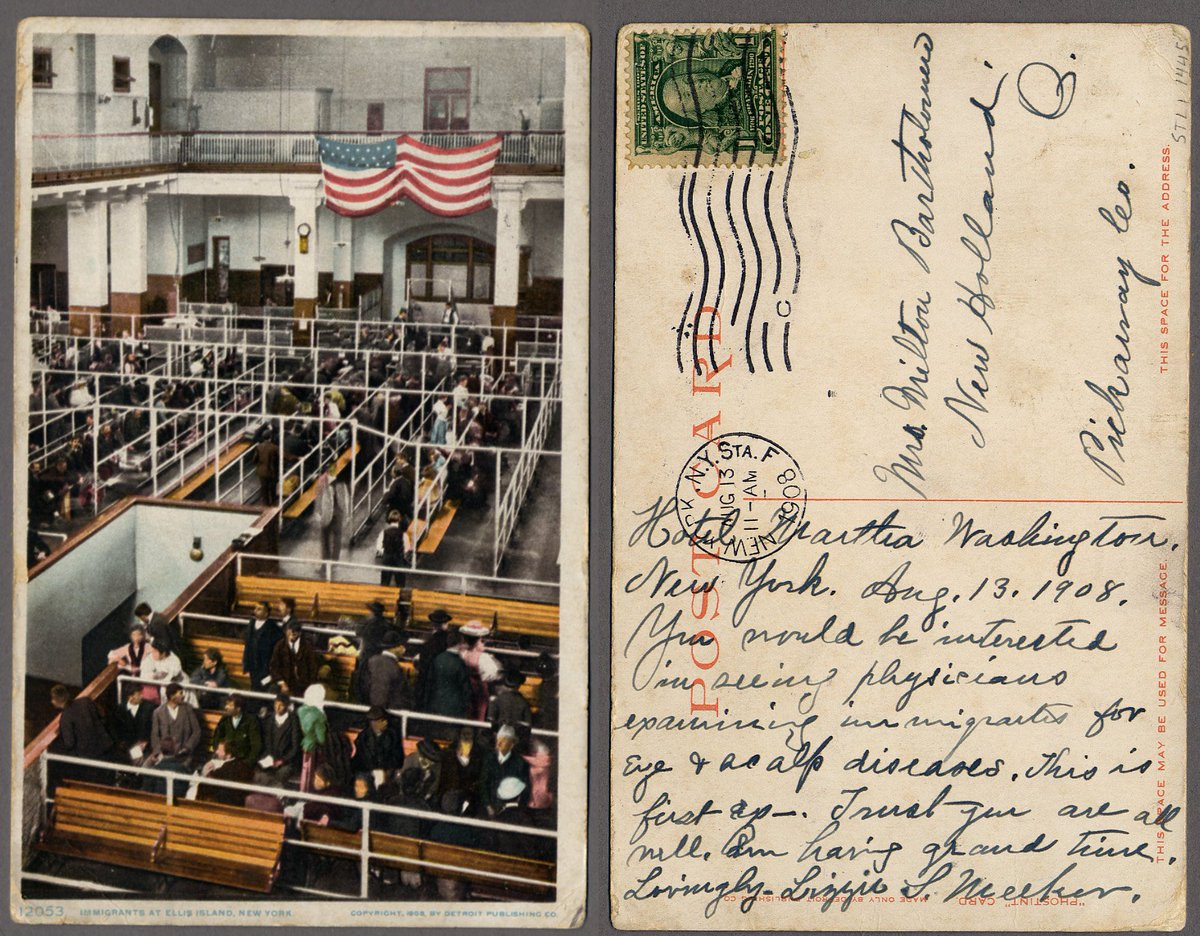 Talk about an interesting picture from the archives! Check out this postcard from #1908 that was sent from #EllisIsland.