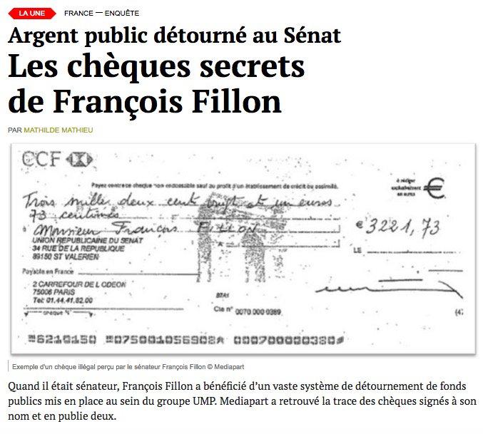 [RÉVÉLATIONS] Argent public détourné au Sénat: Mediapart publie les chèques secrets de François Fillon. https://t.co/Xur0IZHKEw