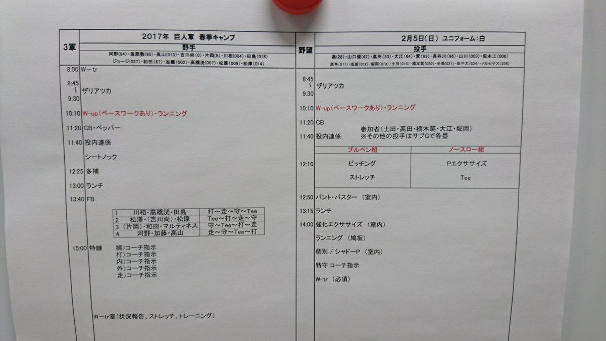 2月5日(日)#春季キャンプ 練習メニュー 一軍:宮崎 サンマリン 二軍:宮崎 旧室内 三軍:ジャイ…
