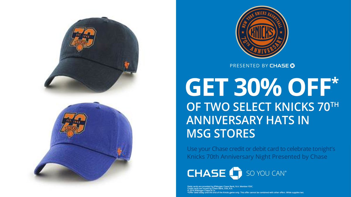 159e32295 Chase Cardholders receive 30% off a special  Knicks Anniversary Hat in MSG  Team Stores during tonight s Anniversary Night.   NYK70pic.twitter.com 7g4QdddAyJ