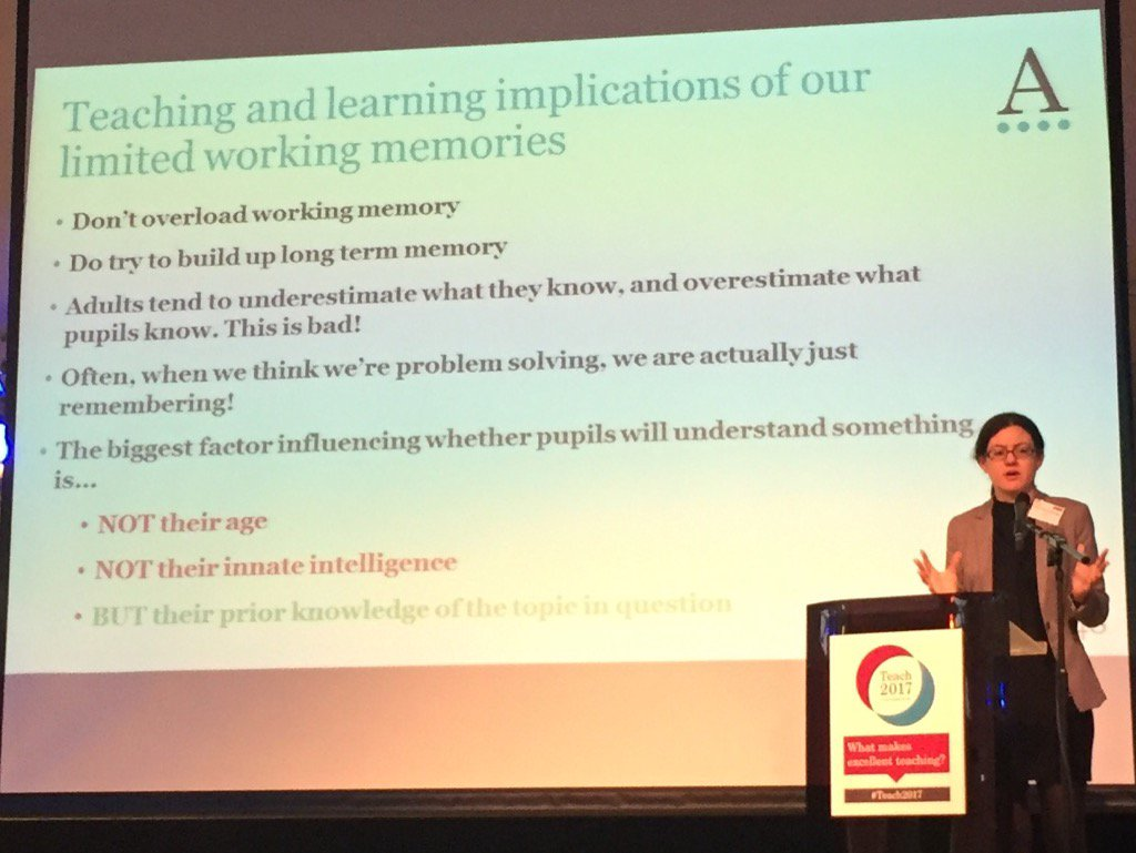Really good today from @daisychristo on working memory #Teach2017 https://t.co/aStPXZ8sxv