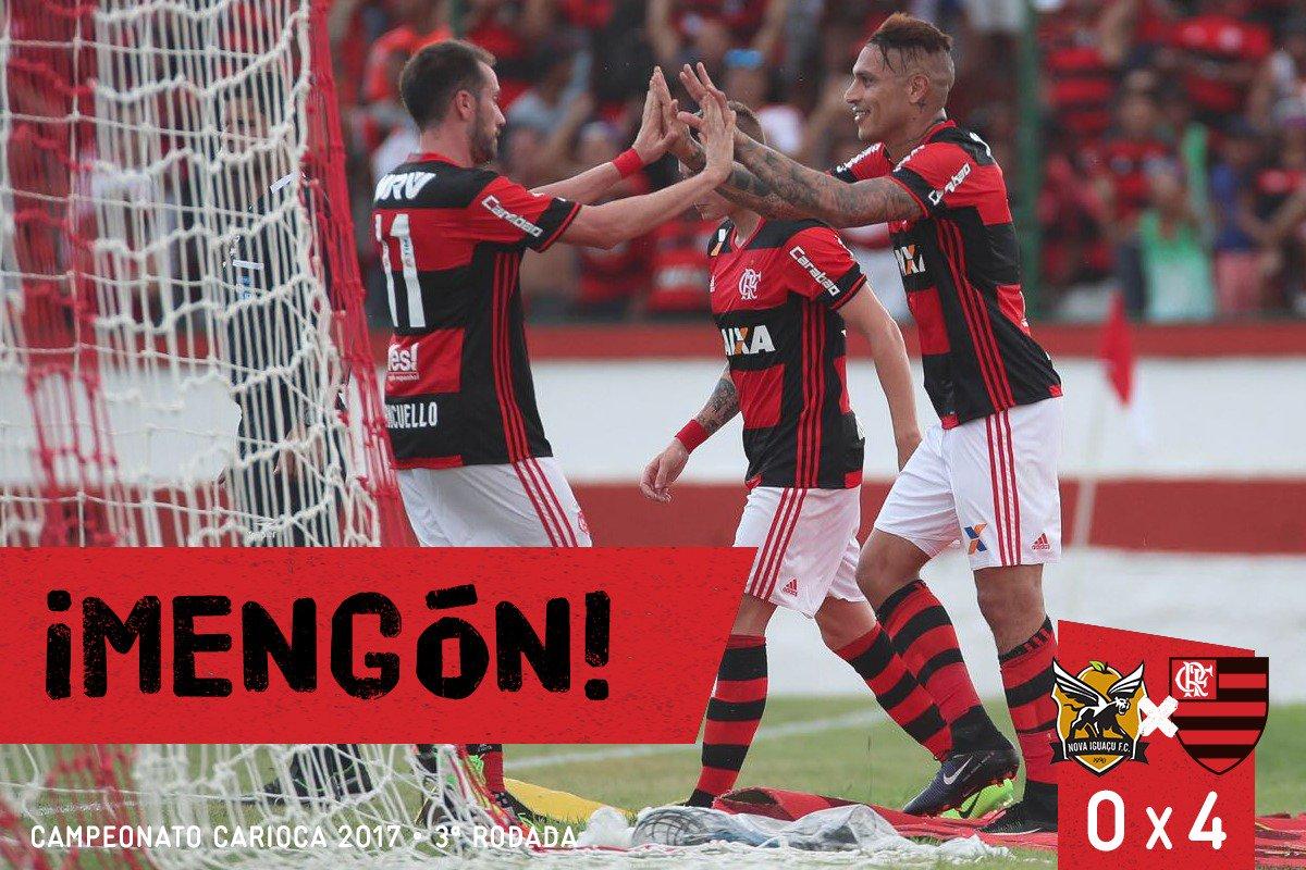 FIM DE JOGO! Com dois de Mancu e dois de Guerrero vencemos o Nova Iguaçu por 4 x 0. Esto aqui es #MENGÓN!