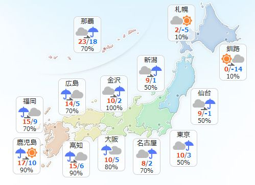 【2月5日(日)】全国的に大気の状態が不安定でしょう。お出かけの際には傘を忘れずにお持ちください。 …