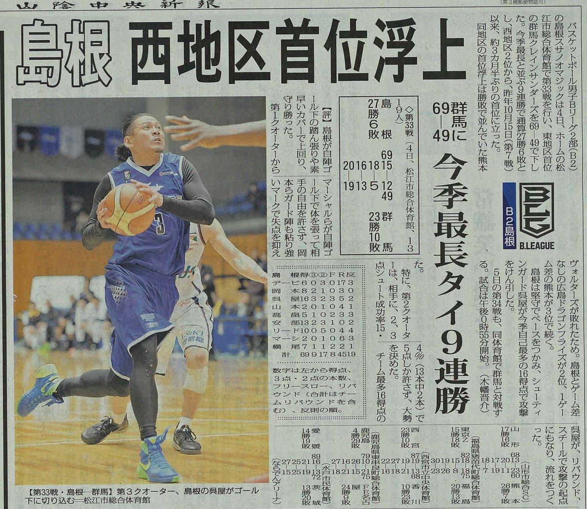 今朝の山陰中央新報記事です。ありがとうございます! 『島根西地区首位浮上』❗️ 今日も頑張って必ず勝…