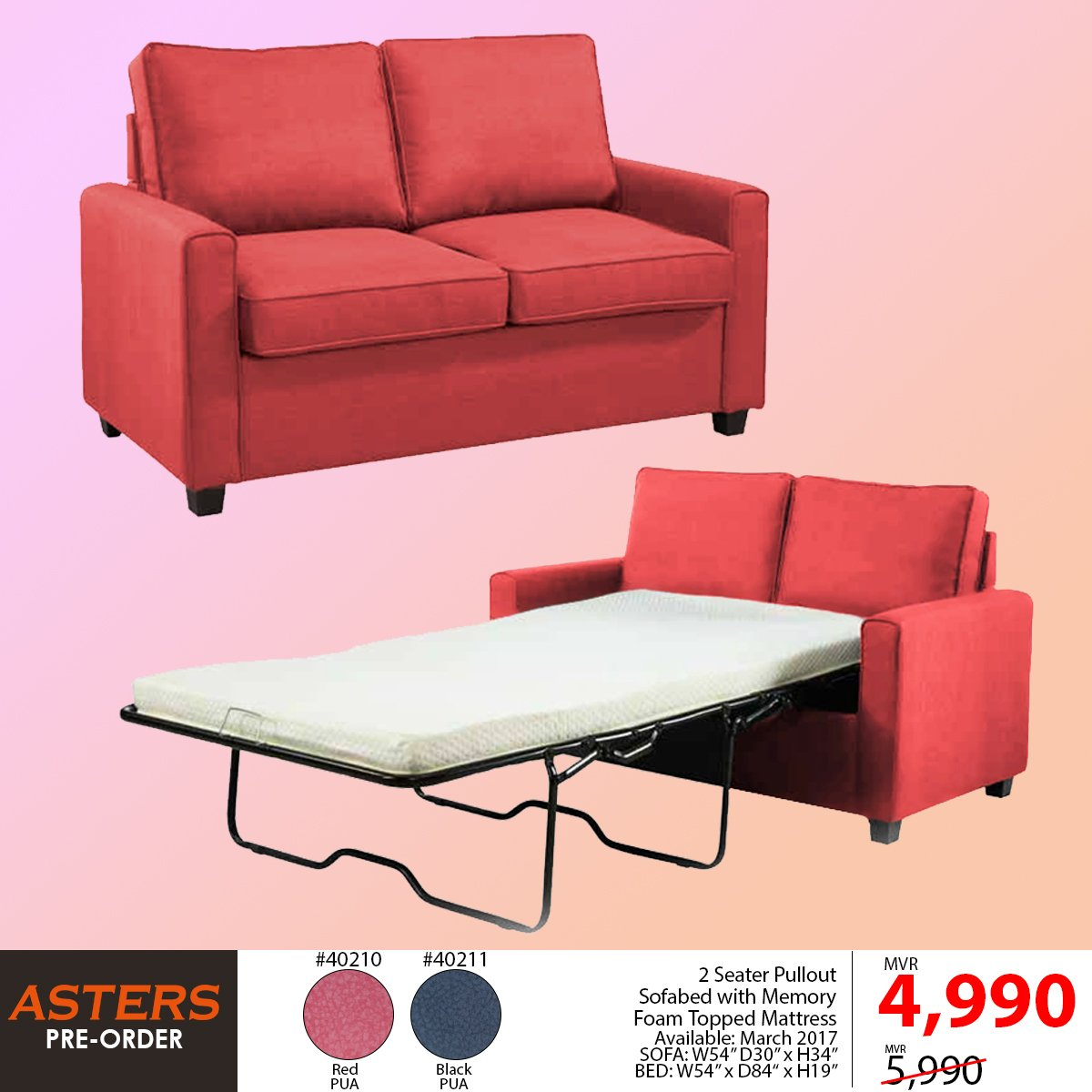 2 Seater Pullout Sofabed With Memory