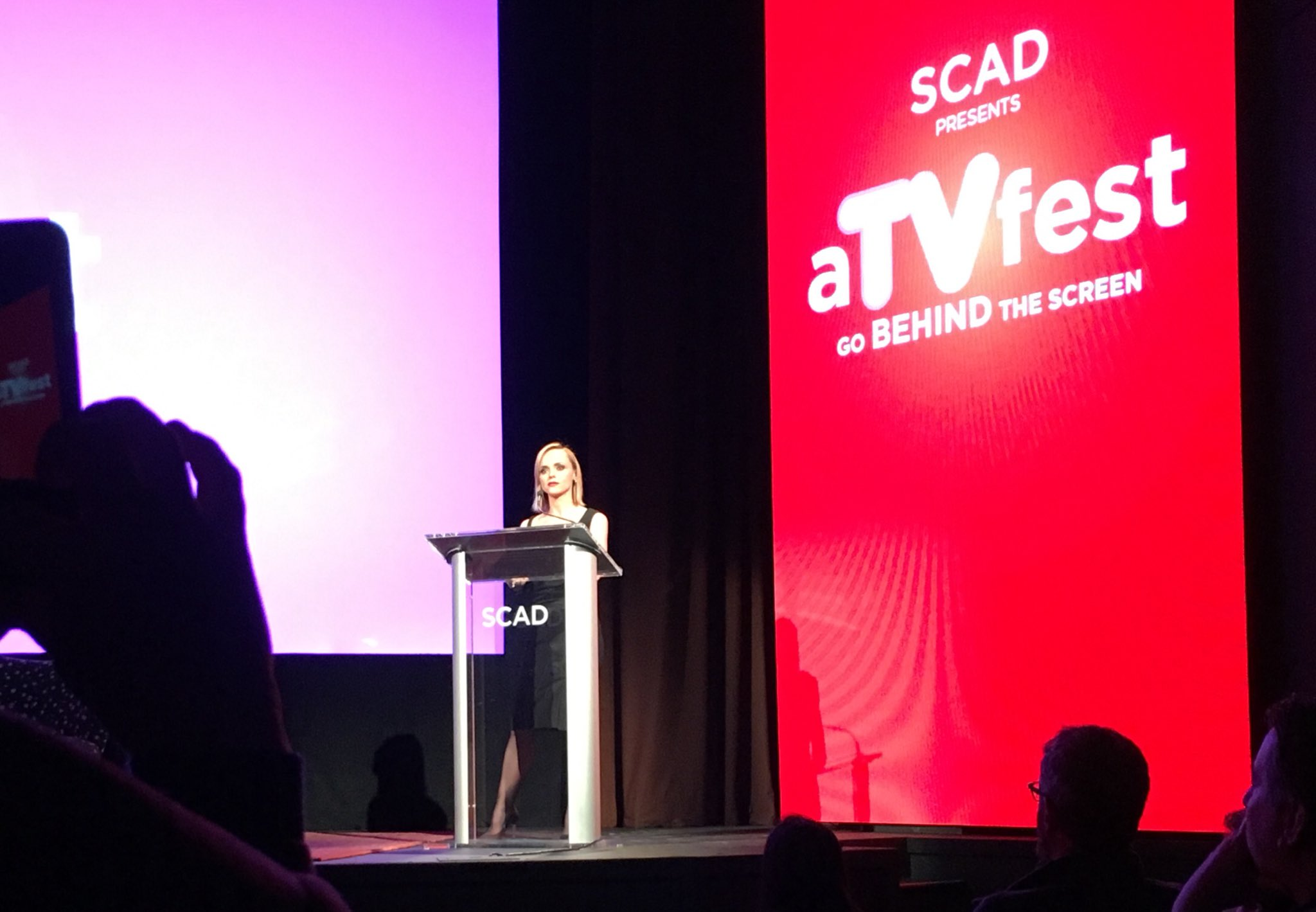 Got to see a longtime favorite actress @ChristinaRicci accept a well-deserved award at the #SCAD #atvfest! Congrats Christina! https://t.co/2ziQADDNcx