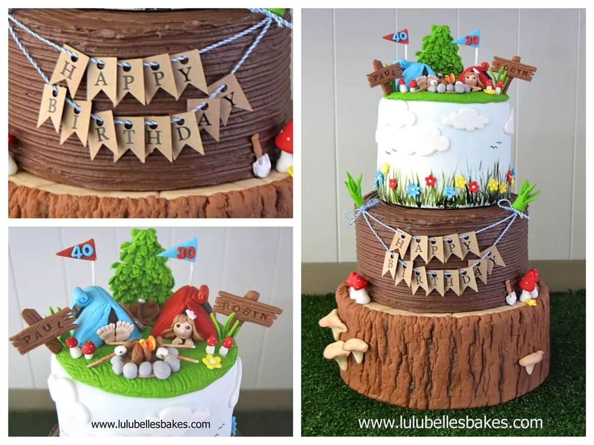 Superb Lulubelles Bakes On Twitter 3 Tier Camping Themed Cake For 2 Personalised Birthday Cards Cominlily Jamesorg