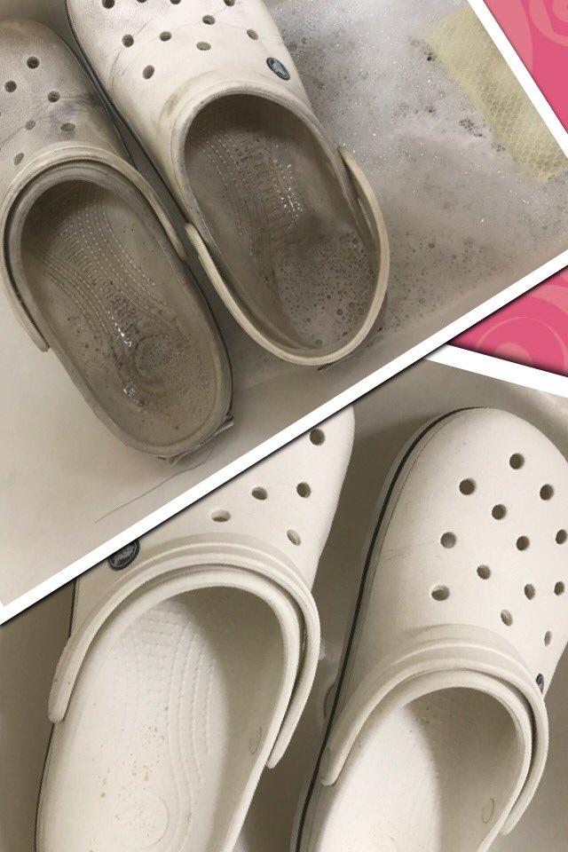 会心の出来だわ 使用道具 スポンジ、ナイロンたわし。使用洗剤 洗濯洗剤、酸素系漂白剤、塩素系漂白剤 クロックス 靴洗い 靴 磨きpic.twitter.com/okJlCwWNZ7