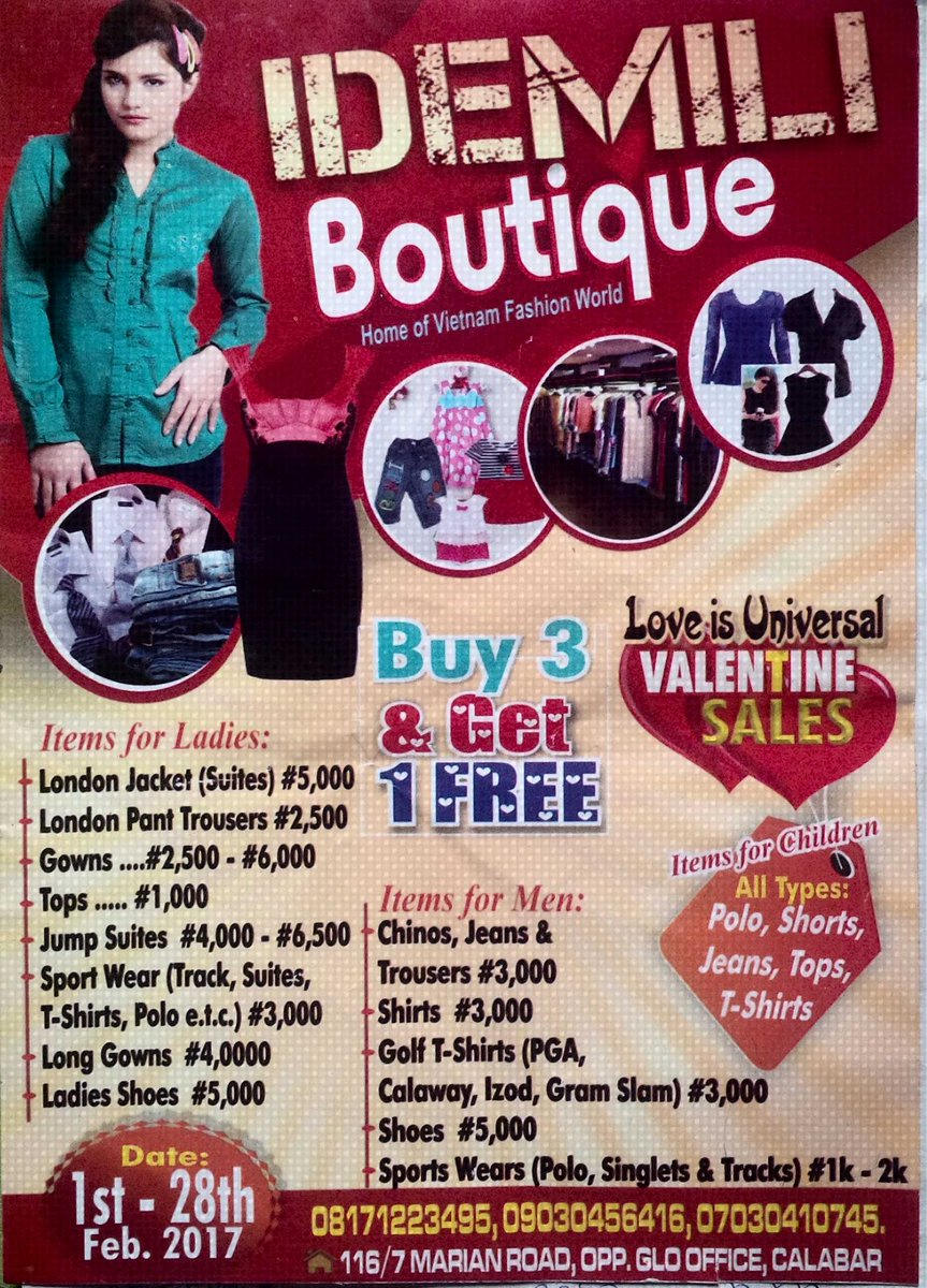 IDEMILI BOUTIQUE ''VALENTINE SALES'' BUY 3 AND GET 1 FREE STARTING FROM JUST 1K