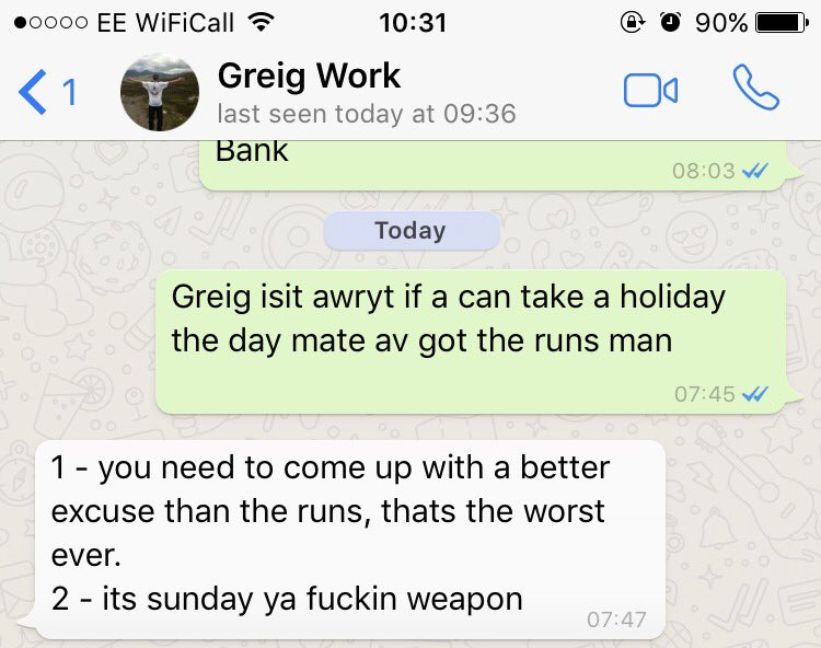 Scottish man messages boss asking for day off, gets a hilarious response