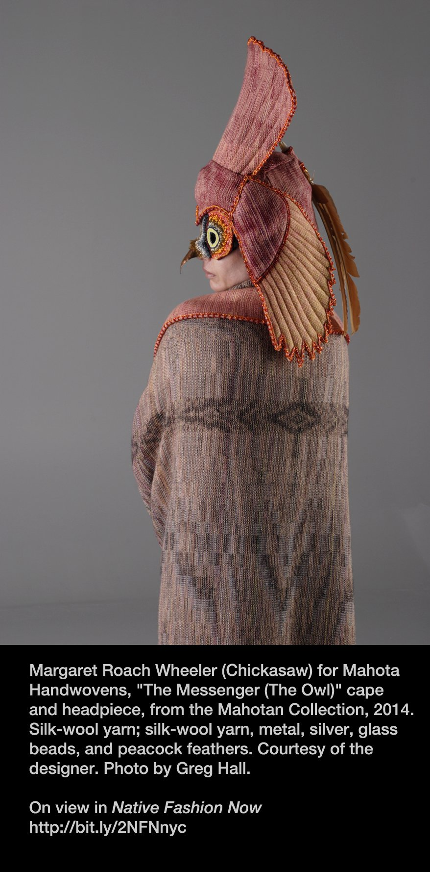 Our #Superb_Owl pick is by #textileartist Margaret Roach Wheeler (@ChickasawNation). On view in #NativeFashionNow starting Feb 17. #NYFW2017 https://t.co/0pVPm9kiPj