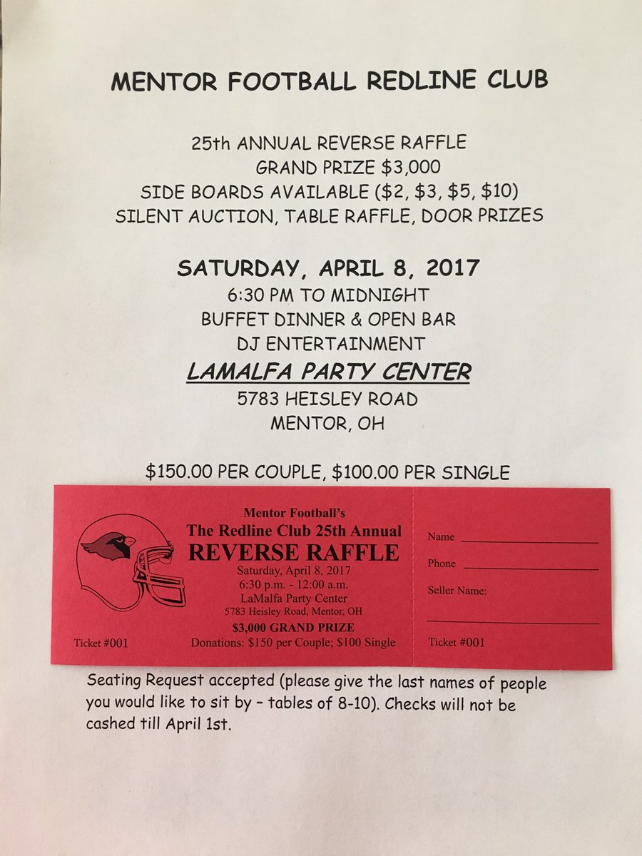coach triv on twitter the mentor football redline club 25th coach triv on twitter the mentor football redline club 25th annual reverse raffle tickets are now on contact me to get your tickets