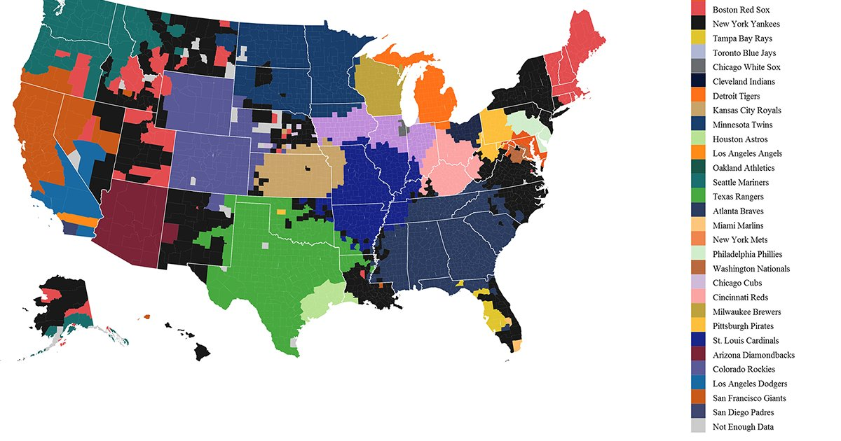 Vivid Maps On Twitter The Us Split Into The Areas Dominated By - Us-map-nfl-teams