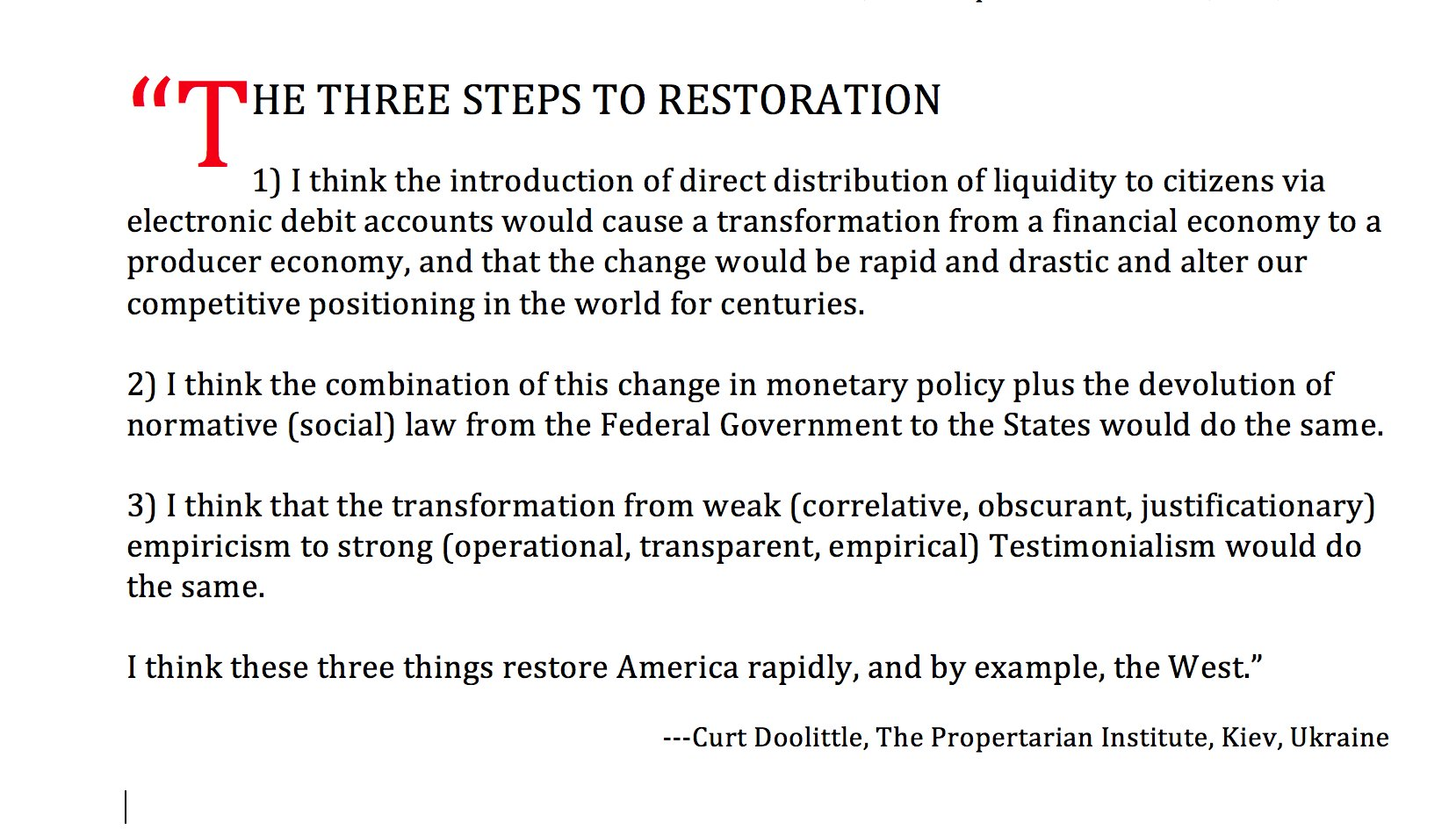 Curt Doolittle On Twitter Three Steps To The Restoration Of The