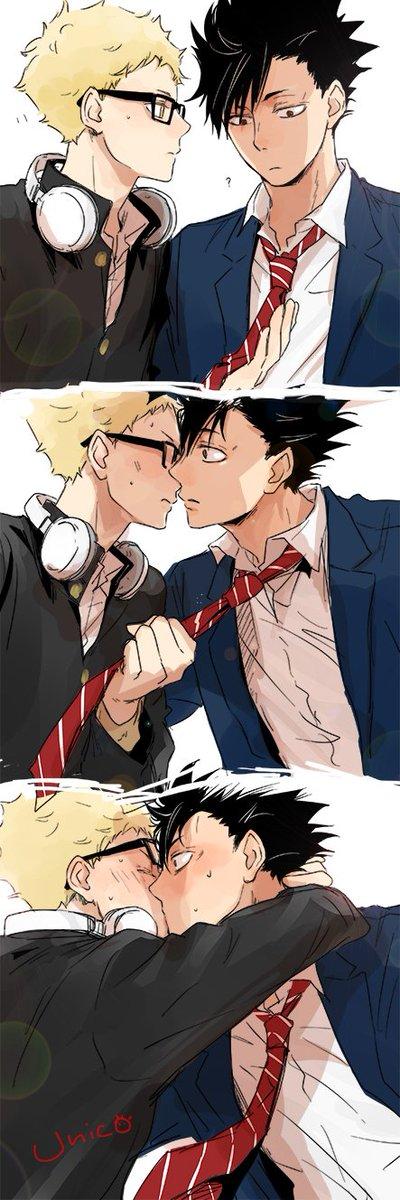 前にリク頂きました~ ☆制服のクロ月 月島が黒尾のネクタイを引っ張ってキス☆