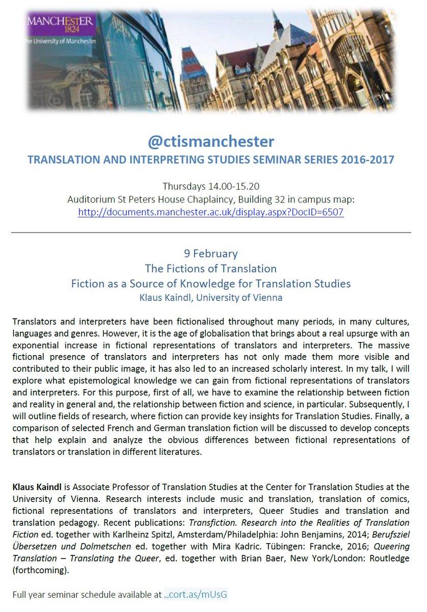 Ctis Manchester On Twitter At Ctismanchester Seminar 9 Feb