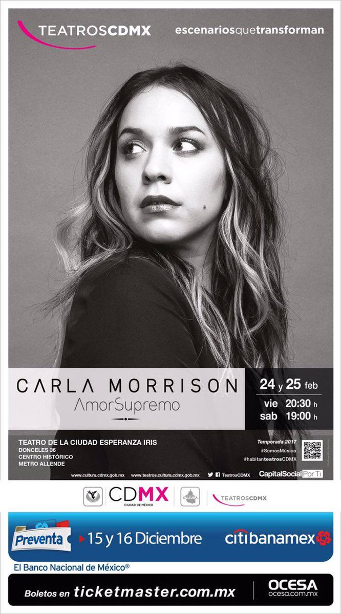 #QuieroQueSepasQue #AmorSupremo de @CarlaMorrisonmx se presenta 24 y 25 de febrero en #TeatroDeLaCiudad @TeatrosCDMX<br>http://pic.twitter.com/v3I0vFNinx