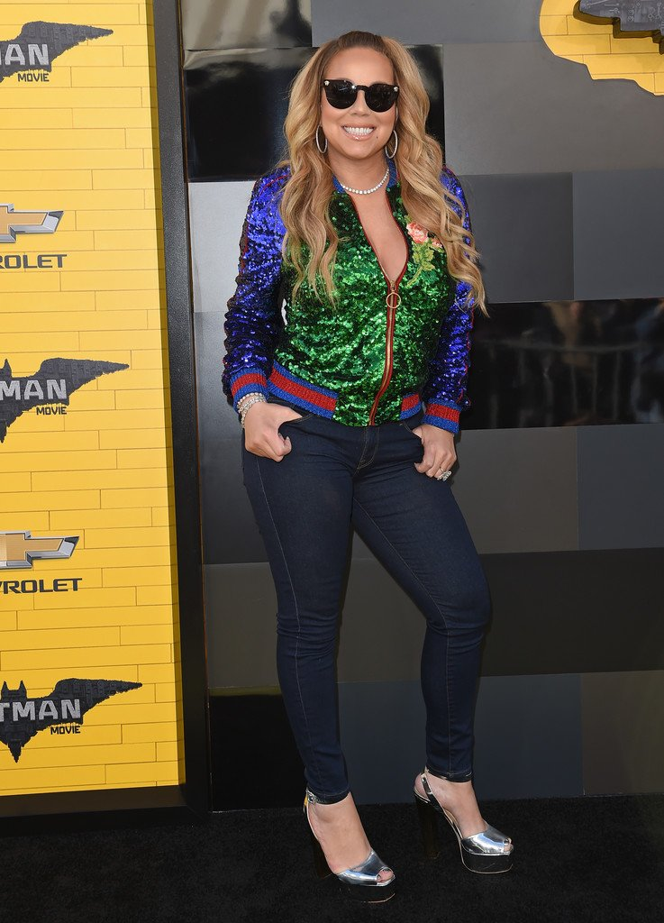 aefcfddefa2a mariahcarey wore a gucci embroidered green purple sequin bomber jacket to  the legobatmanmovie la premiere