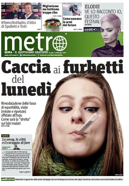 La prima pagina di Metro di domani, buona lettura #Furbetti #FamoStoStadio @Elodiedipa @stefapak https://t.co/80T9PsclG3