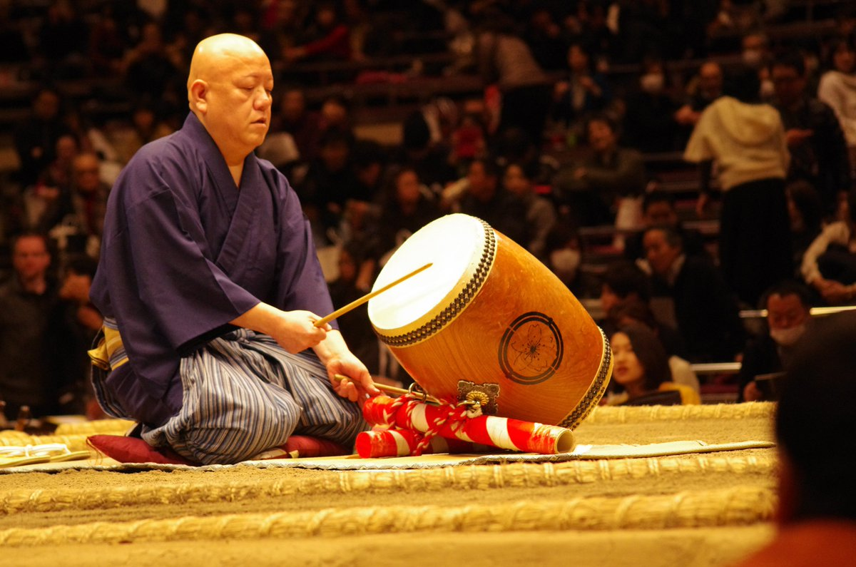 <日本大相撲トーナメント>昨日の様子です。琴吉による太鼓打ち分け。#sumo