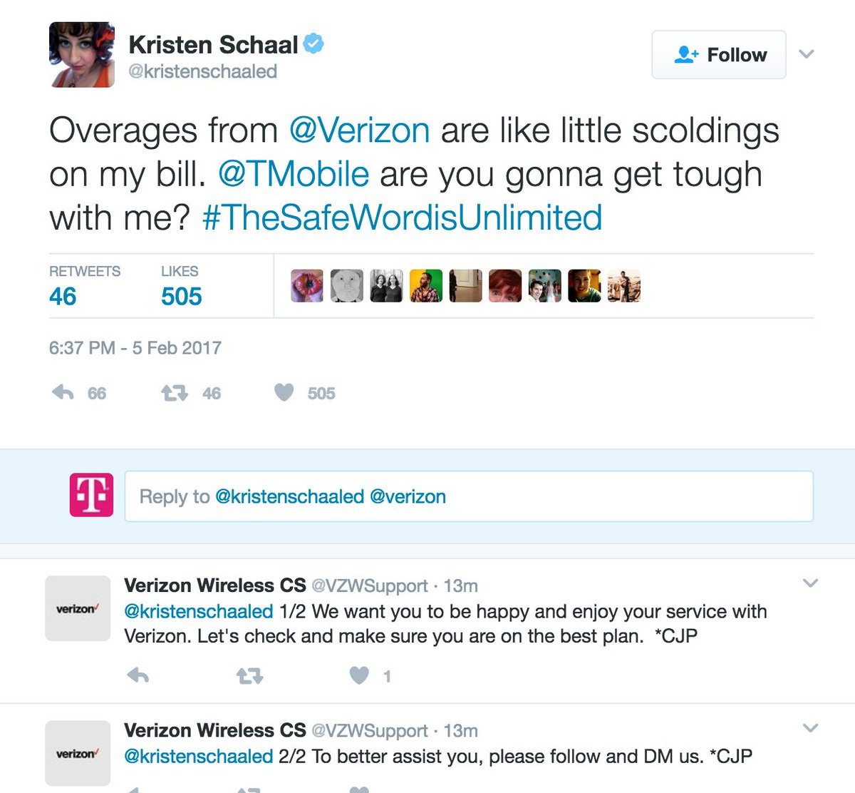 t mobile📱 on twitter guys verizon customer service just verizon customer service just contacted kristen this is really happening thesafewordisunlimited t co dz9tubcca1