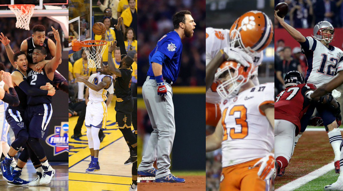 Last 365 days in sports: - NCAA Title buzzer beater - NBA Finals Game 7 - World Series Game 7 - CFB Title last second win - #SuperBowl OT