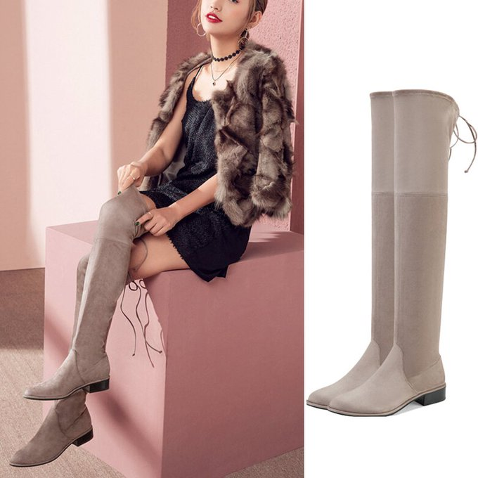 Grey Suede Low Heel Knee High Boots