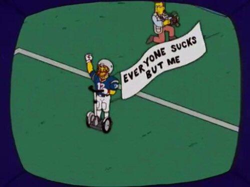 Tom Brady celebrating after winning the #SuperBowl https://t.co/5G9ocTquNM