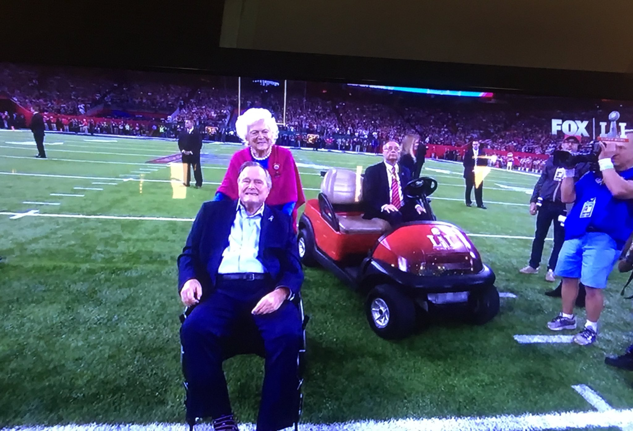 """Thumbnail for Former President George H.W. Bush was """"fired up"""" for the Super Bowl coin toss"""