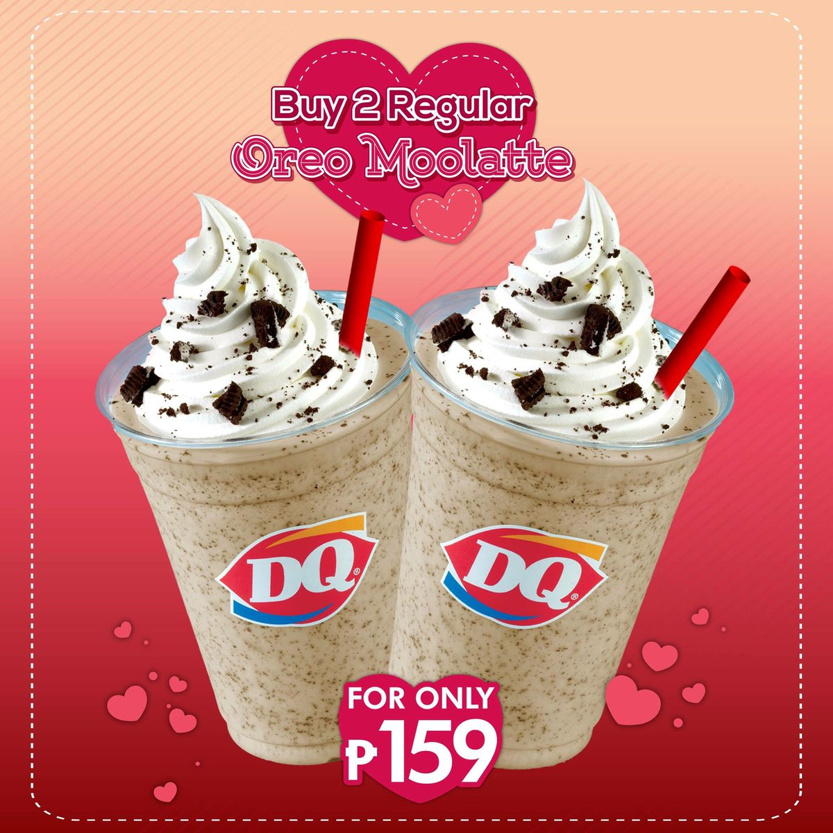 Make your day lovelier than ever by getting our 2 Regular Oreo Moolatte for only P159. Visit #DairyQueenPH now & get this Valentines treat! https://t.co/aUxgG5U5rP