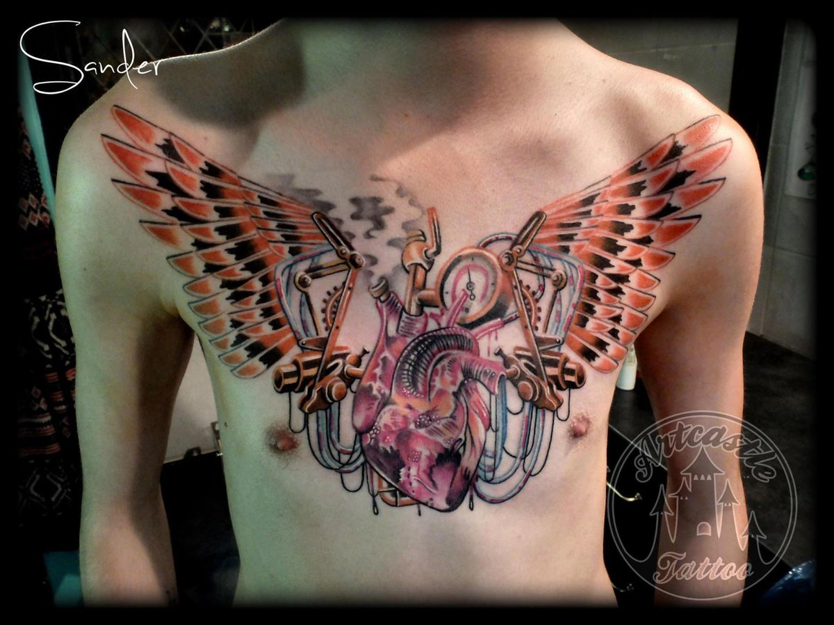 #Tattoo Awesome of the Day: #Steampunk Heart Chestpiece by S. Valentijn @ArtcastleTattoo via @KellyKhamp #SamaTattoo