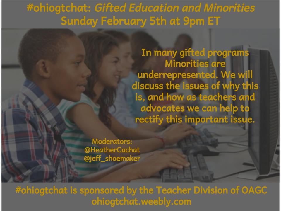 Thumbnail for Feb 5 #ohiogtchat: Gifted Education and Minorities