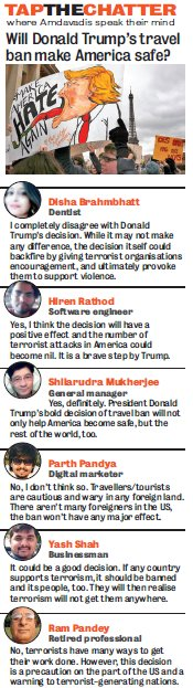 #TapTheChatter: Check out what #Amdavadis have to say on @realDonaldTrump's stand on travel ban. #AhmedabadSpeaks