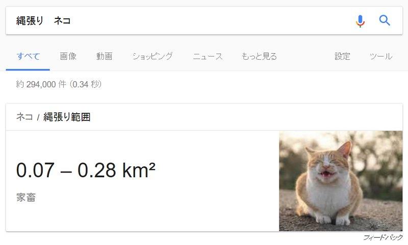 "Google先生ありがとう  「縄張り+動物名」で検索 Google検索の謎機能""動物の縄張り範囲""…"