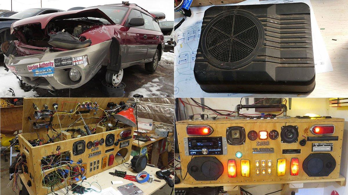 Subaru powered subwoofer goes into the Junkyard Boogaloo Boombox: autoweek.com/article/diy/su…
