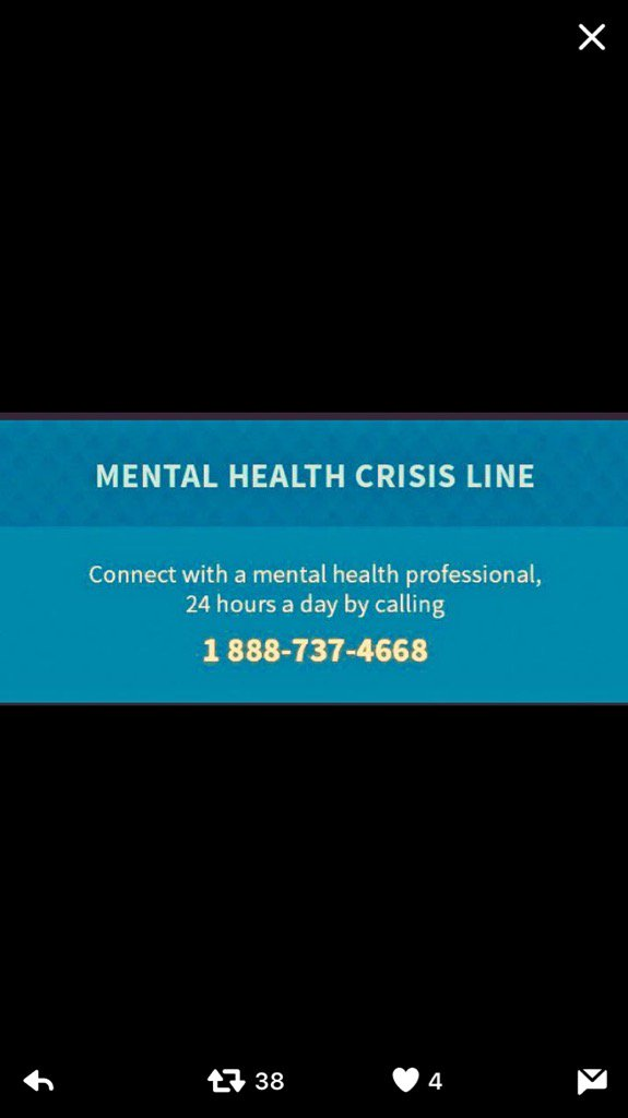Please if you need help pick up the phone. There is no shame in asking for help.#BellLetsTalk https://t.co/wJIOiI8f3g