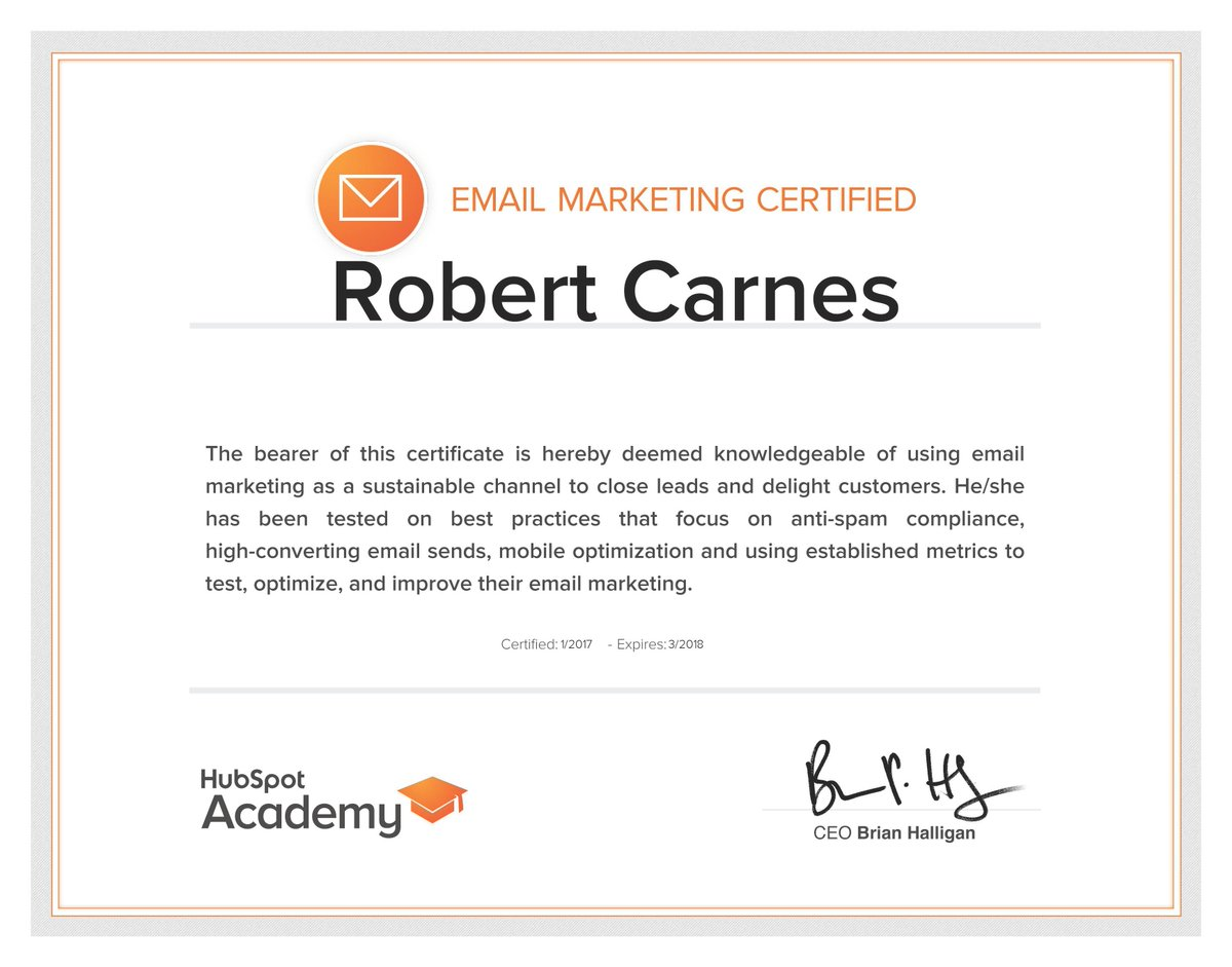 Robert Carnes On Twitter Passed My Email Marketing Certification