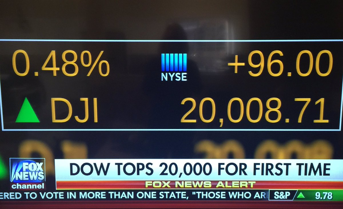 DOW tops 20,000 for the first time 🎉🎉🎉  #ThankYouTrump ‼️  #MAGA #Trump #wednesdaymotivation