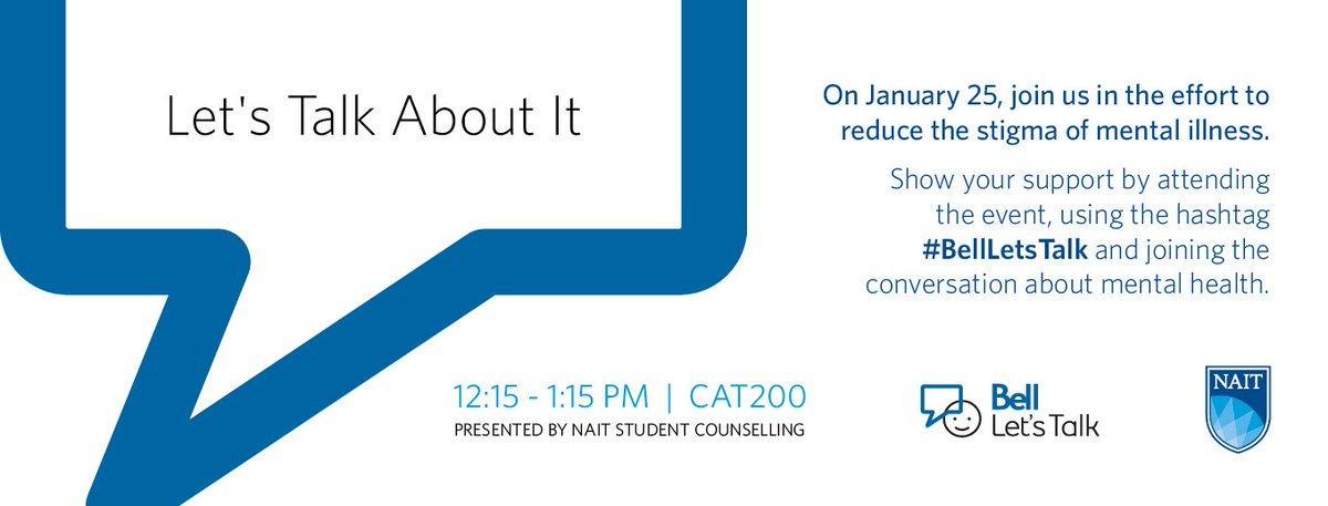 Good morning! Don't forget about the #BellLetsTalk event in CAT200 later today! #NAIT https://t.co/OE3V3ruJxG