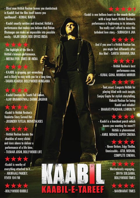 So glad that Kaabil has been Kaabil enough of this much love & appreciation! I'm truly overhwmeled. #KaabilWinningHearts https://t.co/AYxwApCWMP