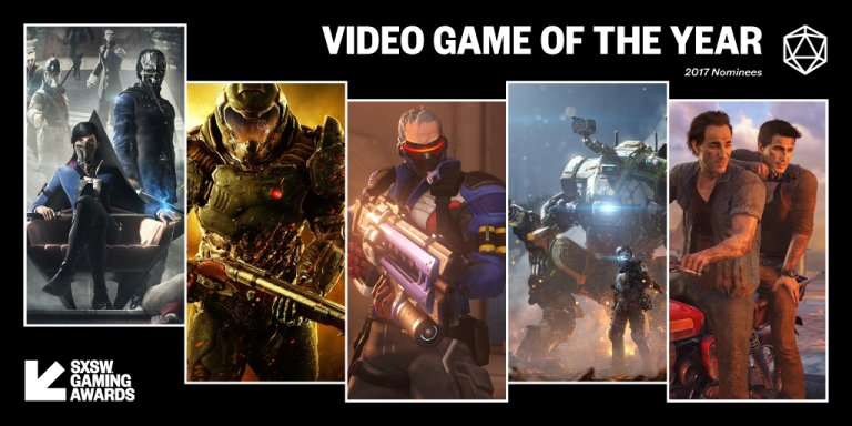 Excited to see both #Dishonored2 and #DOOM nominated for Video Game of the Year at the #SXSWGamingAwards. Vote now!  https:// gaming.sxsw.com/news/2017/100- nominees-announced-for-the-2017-sxsw-gaming-awards/  … <br>http://pic.twitter.com/uzcxvsLDjy