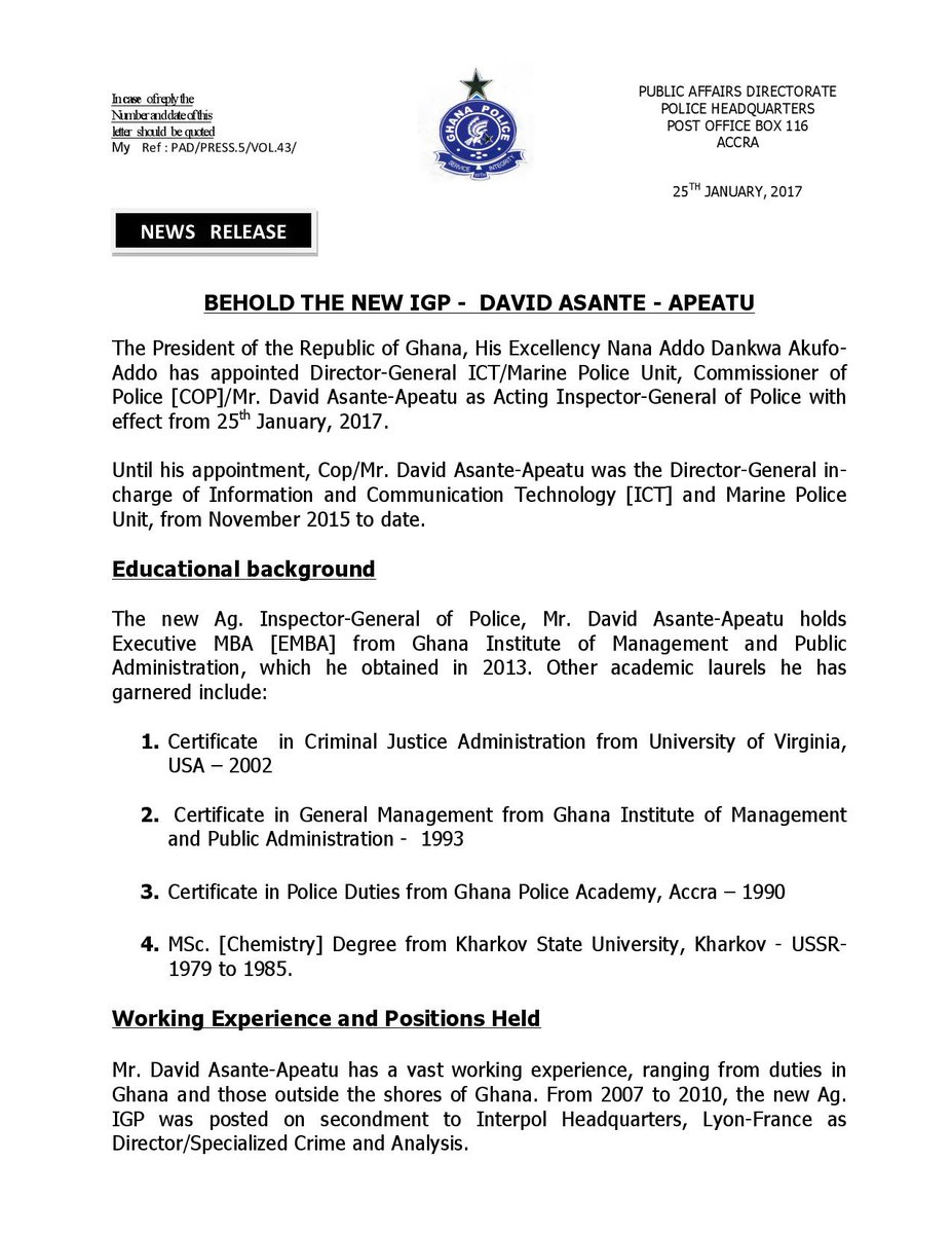 Ghana police service on twitter the president of the republic of ghana police service on twitter the president of the republic of ghana he nakufoaddo appoints copmr david asante apeatu as acting igp effective 1betcityfo Choice Image