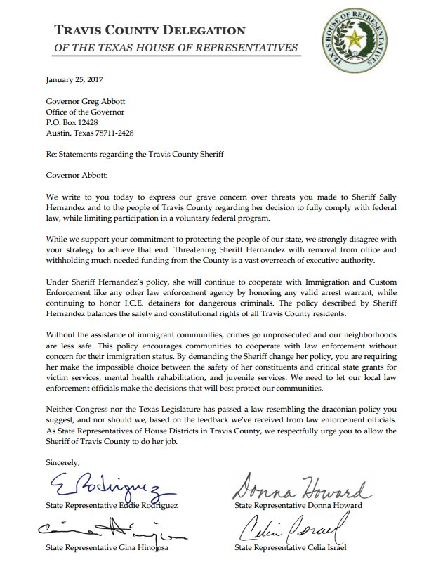 Travis County Delegation writes letter in response to Governor Abbott's letter to TCSO Sheriff Sally Hernandez. https://t.co/fhqLwGNE7T