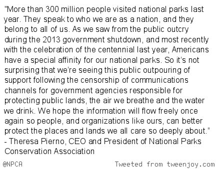 BREAKING: Statement from @NPCA CEO, Theresa Pierno regarding censorship of comms channels for gov't agencies https://t.co/1kf1h2vSI1