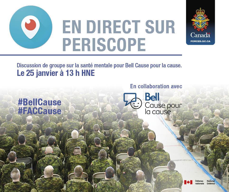 Ne manquez pas aujourd'hui notre discussion de groupe sur la santé mentale! À voir en direct sur #Periscope #BellCause #FACCause https://t.co/GVrF5d9RJ2