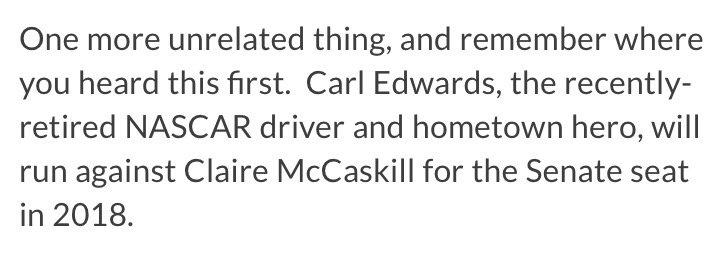 Nascar driver Carl Edwards definitely would consider US Senate