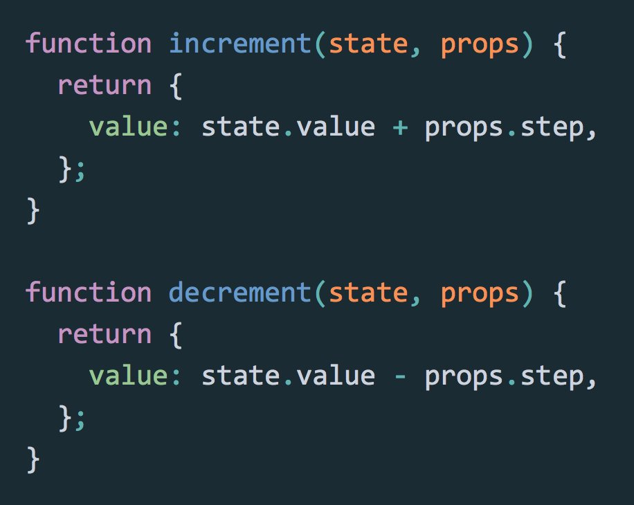 Best kept React secret: you can declare state changes separately from the component classes. https://t.co/LczYP7yw2R